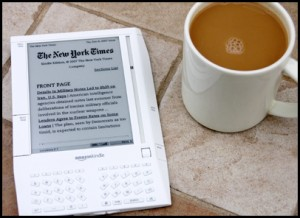 I am very much tempted to dump this picture of coffee over this picture of a Kindle.  That's how I'm feeling right now.